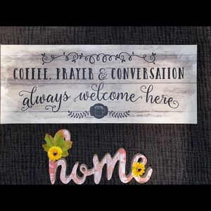 Canvas wall hanging and home sign